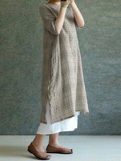 Vestido retro estampado con aberturas laterales de cuello en O y manga 3/4 para mujeres