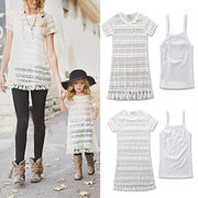 2Pcs/Set Lace Flower Mommy and Me Matching Outfits Tassel Dress/Tops