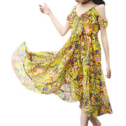 Bohemian Style Floral Girls Kids Summer Beach Casual Dress For 6Y-15Y