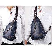 Bolsa retra portátil de PU cuero de ocio bolsa pectoral al hombro bolsa en bandolera para hombres