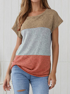 Casual Patchwork Short Sleeve Crew Neck Blouse