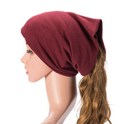 Mens Women Solid Cotton Beanie Caps Multifunction Casual Hat Scarf Collar Daul Use