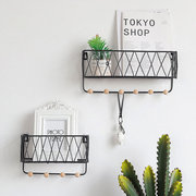 Iron Grid Wall Shelf Home Wall-mounted Storage Rack
