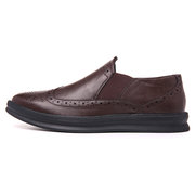 Men Carved Leather Elastic Panels Non-slip Slip On Casual Formal Shoes