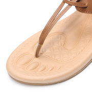 Women Casual Beach Solid Color Clip Toe Buckle Flat Sandals