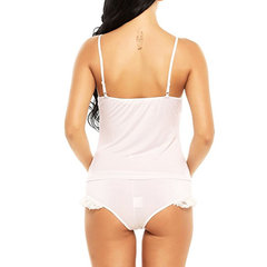 Sexy Lace Adjustable Camisole Panties Sets V Neck Nightgown Pajamas