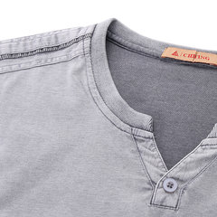 Mens Summer Cotton Breathable Solid Color V-neck Short Sleeve Casual T-shirt