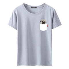 Mens Cute Dog Printed Oansatz Kurzarm Sommer Casual T-Shirts
