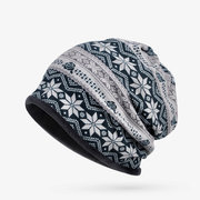 Women Snowflake Print Bonnet Hats Casual Outdoor Windproof Warm Elasticity Knit Cap Collar Dual Use