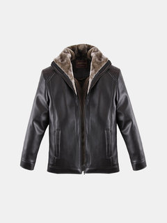Giacca invernale in pelle PU Giacca in pelle all'interno Extra felpa addensare Outwear For Men