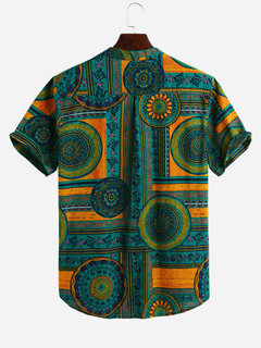 Mens Ethnic Style Printed Cotton Breathable Summer Short Sleeve Buttons Fly Henley Shirts