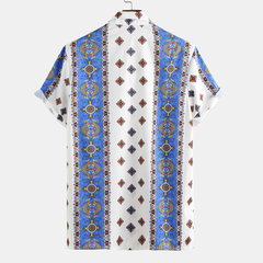 Chemise Casual Loose Casual Mens Vintage Floral Ethnic Style Impression