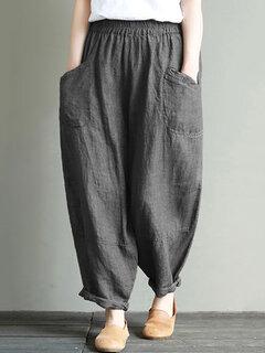 Vintage Einfarbig Elastikbund Taschen Lose Plus Größe Hosen