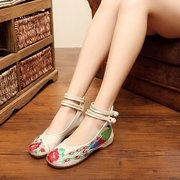 Stampa del fiore del ricamo retro Chineseknot National Wind Flat Shoes