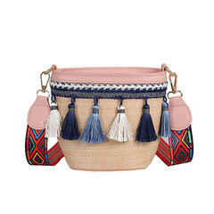 Straw Tassel Bucket Bag Shoulder Bag For Women