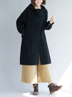 Casual Hooded Pocket Solid color Long Corduroy Trench Coat