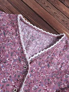 Estampado floral plisado con cuello en V manga larga casual Camisa