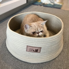 2 Colors Cotton Rope Knitting Pet Kennel Cat Anti-scratch Kennel Bed