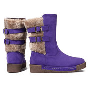 LOSTISY Furry Buckle Mid Calf Knight Flat Casual Boots