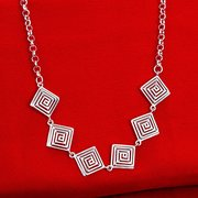YUEYIN® Silver Plated Hollow Square Necklace