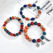 Böhmische Multilayer Quaste Perlen Armband Tier Elefant Herz Colorful Anhänger Armband für Damen