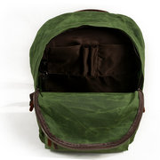 Canvas  Retro Wax Oil Waterproof Large Capacity Backpack Casual Travel Bags For Men