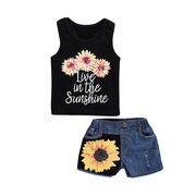 2Pcs Toddler Girls Kids Flower Short Set (Top+ Denim Shorts) For 2Y-9Y