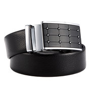 Men's Gold Alloy Adjustable Automatic Grid Frosted  Buckle Two Layer Cowhide Belt