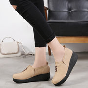 Women Casual Soft Suede Leather Round Toe Slip On Shake Shoes