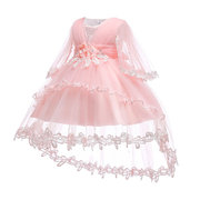 Flower Tiered Girls Party Formal Dress For 0-24 Months