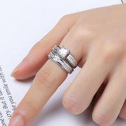 2 Teile / satz Klassische Zirkonia Frauen Ringe Braut Hochzeit Platin Band Fingerringe für Frauen