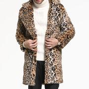 Mens léopard impression veste en fausse fourrure mi-long molleton épais manteau chaud chaud revers