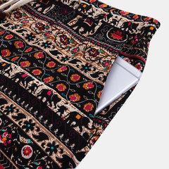 Mens Ethnic Style Printing Lose Mode Kordelzug Elastische Taille Beiläufige Gerade Shorts