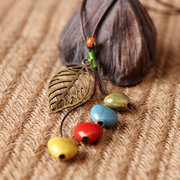 Ethnic Ceramics Heart Beads Necklace Hollow Leaf Pendant Wax Rope Necklaces for Women