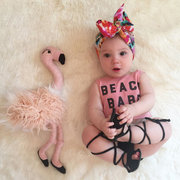 2PCS Summer Newborn Baby Girls Pink Beach Babe Suit For 0-24M