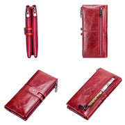 Women Genuine Leather High-end Long Wallet Double Zipper 12 Card Slot Phone Bag Solid Coin Purse