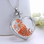 Sweet Natural Dried Flower Inside Crystal Heart Pendant Necklaces for Women Best Gift