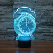 Alarm Clock Lamp 3D Visual LED Night Light USB Charging Bedroom Home Decor