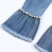 Pearls Patchwork Girl Flare Jeans Kids Long Denim Pants For 4Y-15Y