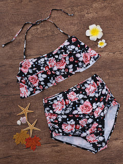 High Waist Halter Flounce Flower Print Bikini Set Swimwear Swimsuit For Women