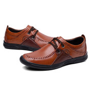 Men Cow Leather Hand Stitching Wear-resistant Casual Shoes