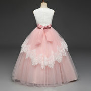 Flower Girl Dresses Kids Lace Bows Pageant Dress For 8-15Years