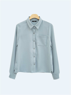 Solid Color Turn-down Collar Chiffon Shirt
