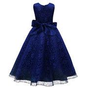 الفتيات الاطفال بلا أكمام مهرجان الزفاف حزب الرباط القوس فستان الأميرة ل 4 Y-15Y