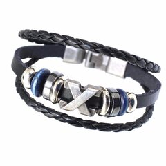 Vintage Multilayer Cuff Bracelet Leather Oval Beads Rope pulseras Ethnic Jewelry para hombres