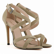 Big Size Strappy Vintage Peep Toe High Heel Buckle Sexy European Style Pumps Sandals