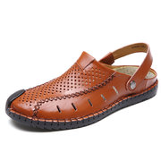 Men Hand Stitching Hole Breathable Water Friendly Leather Sandals