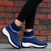 Большой размер Женское Удобная сетчатая меховая подкладка на платформе Обувь Повседневная Ботинки