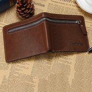 vendimia Casual Zipper Short Trifold Wallet para hombres
