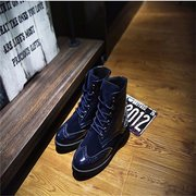 Homens azul Combate Flat Top Top Martin Casual Lace Up Ankle Boots